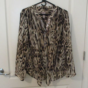 Chico's Size 3 Sheer Animal Print Front Tie Blouse